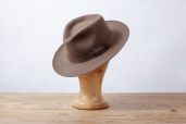 Khaki Furfelt Fedora Hat with Silk Lining by Tonak