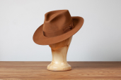 Cinnamon Furfelt Fedora Hat with Silk Lining by Tonak