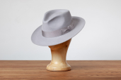 Light Grey Furfelt Fedora Hat with Leather Sweatband and without Lining by Tonak