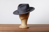 Grey Furfelt Fedora Hat with Leather Sweatband and without Lining by Tonak