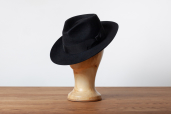 Black Furfelt Fedora Hat with Leather Sweatband and without Lining by Tonak