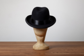 Black Furfelt Homburg Hat with Silk Lining and Leather Sweatband by Tonak