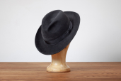 Dark Grey Suede Furfelt Fedora Hat with Silk Lining by Tonak