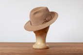Beige Suede Furfelt Fedora Hat with Silk Lining by Tonak