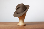 Khaki Furfelt Fedora Hat with Stretch Sweatband and without Lining by Tonak