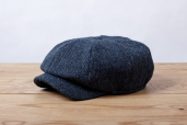 Navy Harris Tweed Woods 8-piece Cap by Hanna Hats