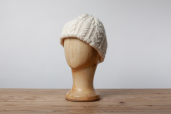 White Aran Knitted Cap by Kerry Woolen Mills