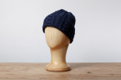 Navy Aran Knitted Cap by Kerry Woolen Mills