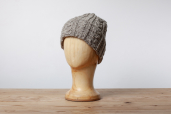 Grey Oatmeal Aran Knitted Cap by Kerry Woolen Mills