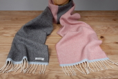 Grey/Pink Herringbone Double-sided Lambswool Scarf by McNutt of Donegal