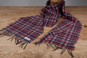 Red/Grey Small Check Lambswool Scarf by McNutt of Donegal