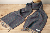 Grey Lambswool Scarf with Rainbow Stripes by McNutt of Donegal