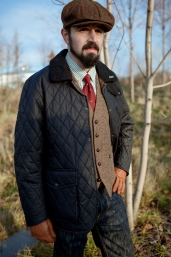 Navy Quilted Waxed Cotton Jacket by Oxford Blue