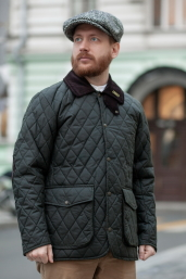 Olive Quilted Waxed Cotton Jacket by Oxford Blue