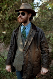 Brown Countryman Waxed Cotton Jacket by Oxford Blue