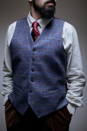 Blue Plaid Tweed Waistcoat by Magee 1866