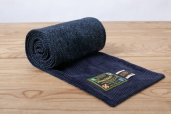 Navy Harris Tweed Scarf with Corduroy Lining by Hanna Hats