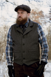 Grey Western Vest with Collar Stormy Kromer
