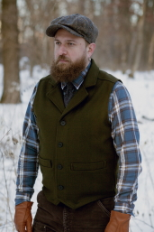 Olive Western Vest with Collar Stormy Kromer