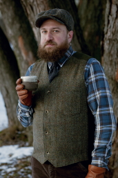 Green-Brown Harris Tweed Uptown Vest by Stormy Kromer