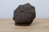 Brown Herringbone Donegal Tweed 8-piece Cap 1920 by City Sport