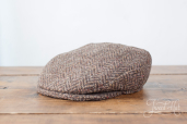 Brown Herringbone Tweed Vintage Cap by Hanna Hats