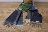 Grey/Navy Herringbone Lambswool Scarf by McNutt of Donegal