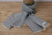 Grey Herringbone Linen Scarf by McNutt of Donegal