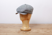 Grey-Blue Herringbone Linen Woods 8-piece Cap by Hanna Hats