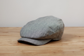 Grey-Blue Sean Herringbone Linen Cap by Hanna Hats
