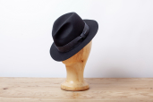 Black Furfelt Crushable Fedora Hat with Stretch Sweatband and without Lining by Tonak