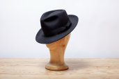 Black Furfelt Fedora Hat with Medium Brims and without Lining by Tonak