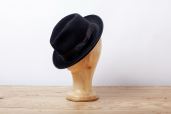 Black Suede Furfelt Fedora Hat with Medium Brims and Silk Lining by Tonak