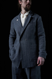 Grey Double-Breasted Coat by Infundibulum, Divo Collection