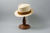 Natural Toquilla Straw Pork Pie Small Brim Panama Hat by K.Dorfzaun, Brisa Weave