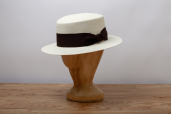 Natural Toquilla Straw Flat Crown Boater Panama Hat by K.Dorfzaun, Cuenca Weave