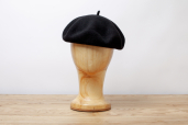 Black Wool/Cashmere Basque Beret by Barascon