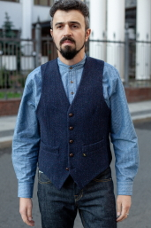Navy Herringbone Tweed Waistcoat by Hatman of Ireland