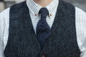 Grey-Navy Lambswool Knitted Tie by McConnell