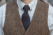 Rust-Blue Lambswool Knitted Tie by McConnell