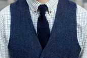 Navy Lambswool Knitted Tie by McConnell