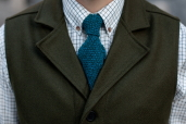 Turquoise Lambswool Knitted Tie by McConnell