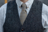 Mustard-Grey Lambswool Knitted Tie by McConnell