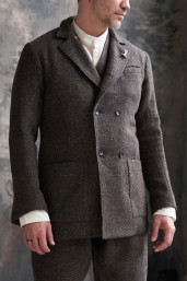 Dark Breen Double-Breasted Tweed Coat by Infundibulum, Sage Collection