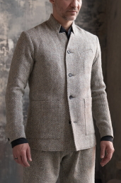 Light Grey Tweed Jacket with Stand-up Collar by Infundibulum, Sage Collection