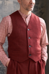Carmine Tweed Waistcoat by Infundibulum, Sage Collection