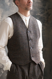 Dark Breen Tweed Waistcoat by Infundibulum, Sage Collection