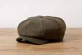 Olive Herringbone Tweed Woods (JP) 8-piece Cap by Hanna Hats