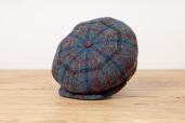 Navy-Grey Plaid Harris Tweed 8-piece Cap 1925 by City Sport