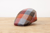 Ginger-blue Plaid Herringbone Donegal Tweed Cap 1960 by City Sport